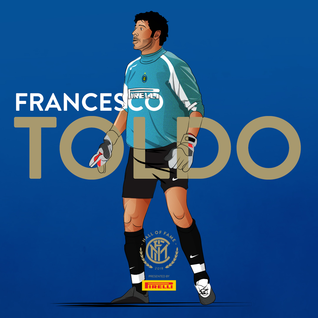 FRANCESCO TOLDO   In a professional career which spanned two full decades, he mainly represented  Fiorentina  and  Internazionale  (eight and nine seasons respectively), winning a total of 15 titles combined; in his last five years, however, he was solely a backup for the  Nerazzurri .  For the  Italy national team , Toldo appeared in five international competitions, being a starter in  UEFA Euro 2000 , where he helped Italy reach the  final .