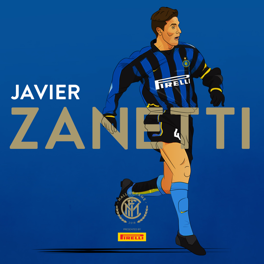 JAVIER ZANETTI   He started his career in Argentina, first with  Talleres , and then  Banfield . From 1995 to 2014 he played for Italian club  Internazionale , and served as  captain  from 2001.  With  1,114 official games played, he is fifth player in history with the most career appearances . He is also the foreign player with the most appearances in  Serie A  (615), and holds the fourth-most appearances in the league, behind only  Paolo Maldini ,  Gianluigi Buffon  and  Francesco Totti . He is the most capped player in the history of Inter (858), and won 16 trophies with the club: five  Scudetti , four  Coppa Italia , four  Supercoppa Italiana , one  UEFA Cup , one  Champions League  and the  FIFA Club World Cup . He is also the most capped player as captain in the Champions League.