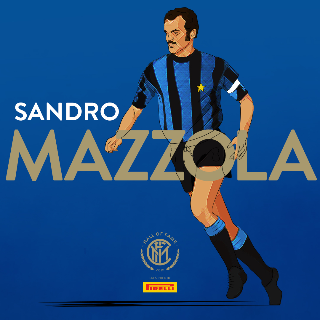 SANDRO MAZZOLA   He is widely regarded as one of the greatest Italian football players of all time, and as one of the best players of his generation, due to his speed, work-rate, creativity, technical skills and eye for goal; he placed second in the  1971 Ballon d'Or .  Having spent his entire 17 season career with Inter, he holds the honour of being a  one-club man . With the club, he won four  Serie A  titles ( 1963 ,  1965 ,  1966  and  1971 ), two  European Cups  ( 1964  and  1965 ) and two Intercontinental Cups ( 1964  and  1965 ), also winning the  Serie A top scorer award  during the 1964–65 season, in which he also reached the  Coppa Italia  final, narrowly missing out on a  treble  with the club.  With the  Italian national side , Mazzola won the  UEFA European Championship  in  1968 , being named to the  Team of the Tournament , and reached the  final  of the  1970 FIFA World Cup ; he also took part in the  1966  and  1974 FIFA World Cups  with Italy.