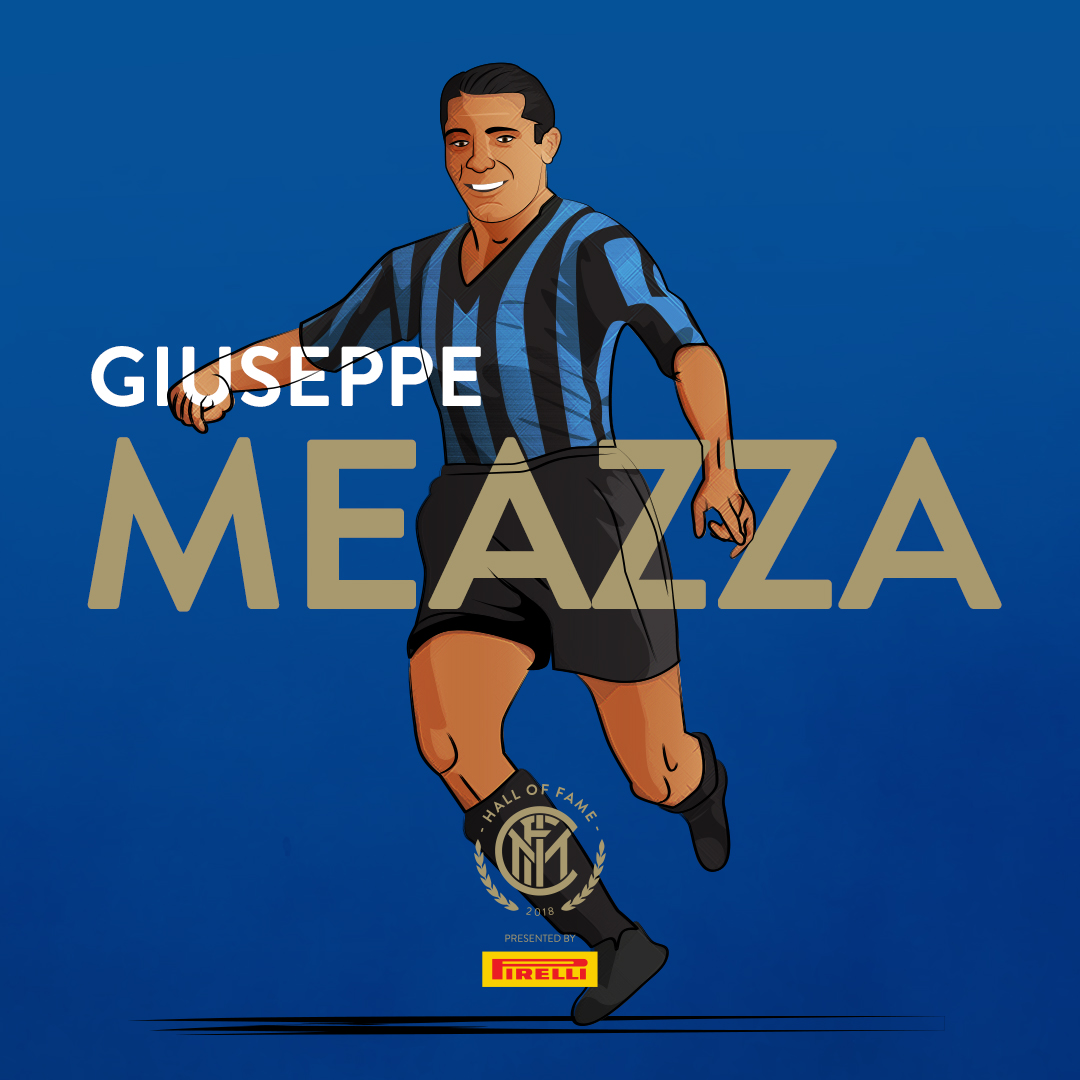 """GIUSEPPE MEAZZA   Throughout his career, he played mainly for  Internazionale  in the 1930s, scoring 242 goals in 365 games for the club, and winning three  Serie A  titles, as well as the  Coppa Italia ; he later also played for local rivals  Milan , as well as  Turin rivals   Juventus .  At international level, he led  Italy  to win two consecutive  World Cups : in  1934  on home soil, and in  1938  as  captain ; he was named to the  All-star Team  and won the  Golden Ball Award  at the 1934 World Cup, as the tournament's best player. Along with  Giovanni Ferrari  and  Eraldo Monzeglio , he is one of only three Italian players to have won two World Cups. Following his retirement, he served as a coach for the Italy national team, and with several Italian clubs, including his former club sides Inter and Atalanta, as well as  Pro Patria , and Turkish club  Beşiktaş ; he was Italy's head coach at the  1952 Summer Olympics .  Meazza is widely considered one of the best players of his generation, and among the greatest of all time, as well as being regarded by many in the sport as Italy's greatest ever player. Due to his technical skill, prolific goalscoring, and creative ability, he was often given the nickname """"il genio"""" (the genius) by the Italian press during his career."""