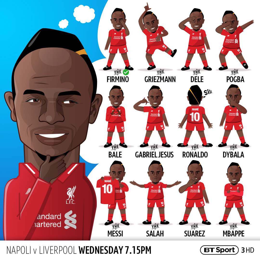 This design is based around the subject of Sadio Mane and how he copies his team mates celebrations after each goal. It imagines how Sadio would look if he copied the celebrations of 12 World Stars who are all competing in this seasons Champions League.
