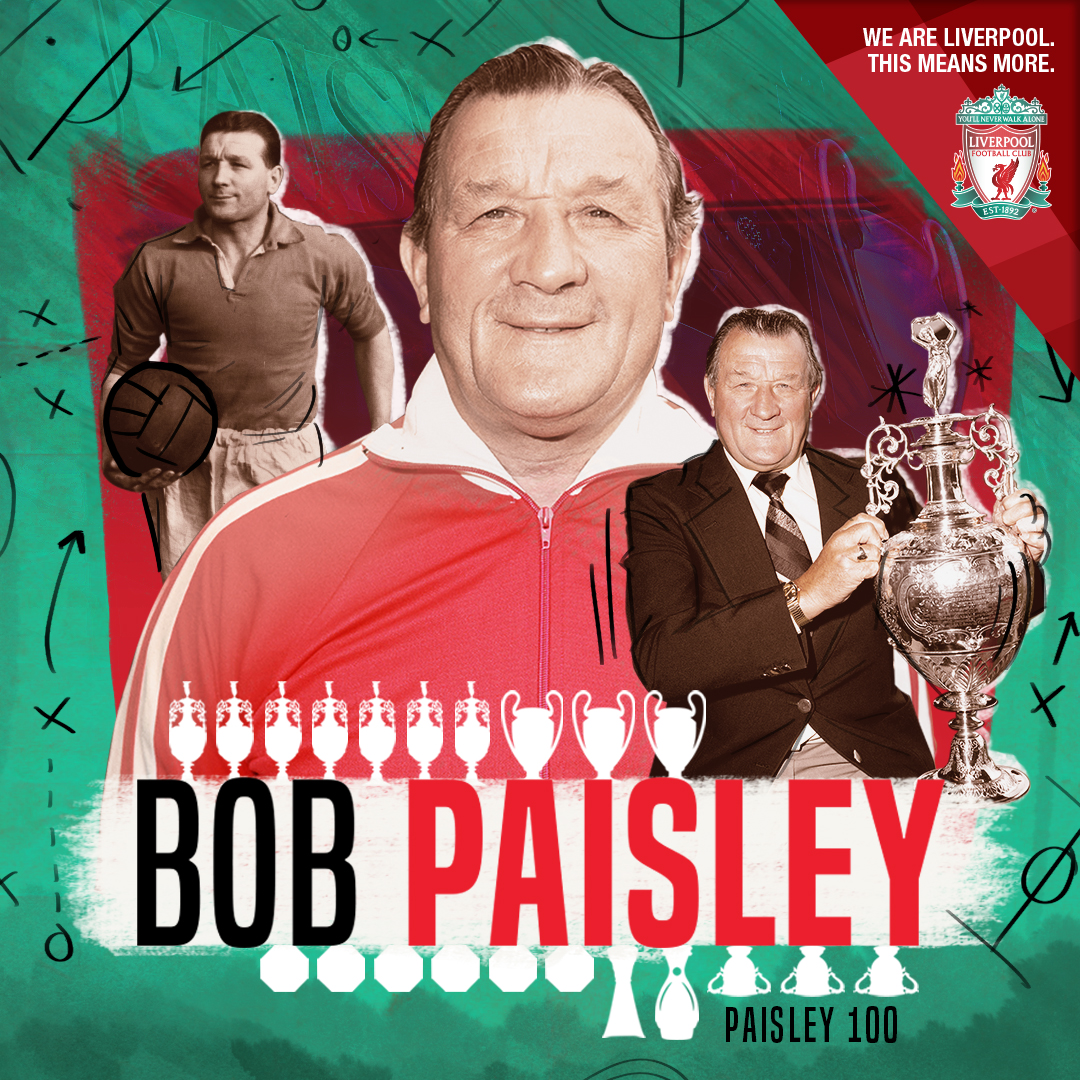 Bob Paisley ' s 100th Anniversary   Deviating from the illustration based pattern of the project so far, the club asked me to produce a one-off piece that was used to celebrate the 100th anniversary of Bob Paisley's birth. Paisley is still LFC's most successful manager of all time and the game against Crystal Palace in Jan 2019 was a match dedicated to his memory. This graphic aimed to get across the notion that Bob was a player and manager for the club and his honours list could be seen through all of the trophies he won displayed as white icons around his name.