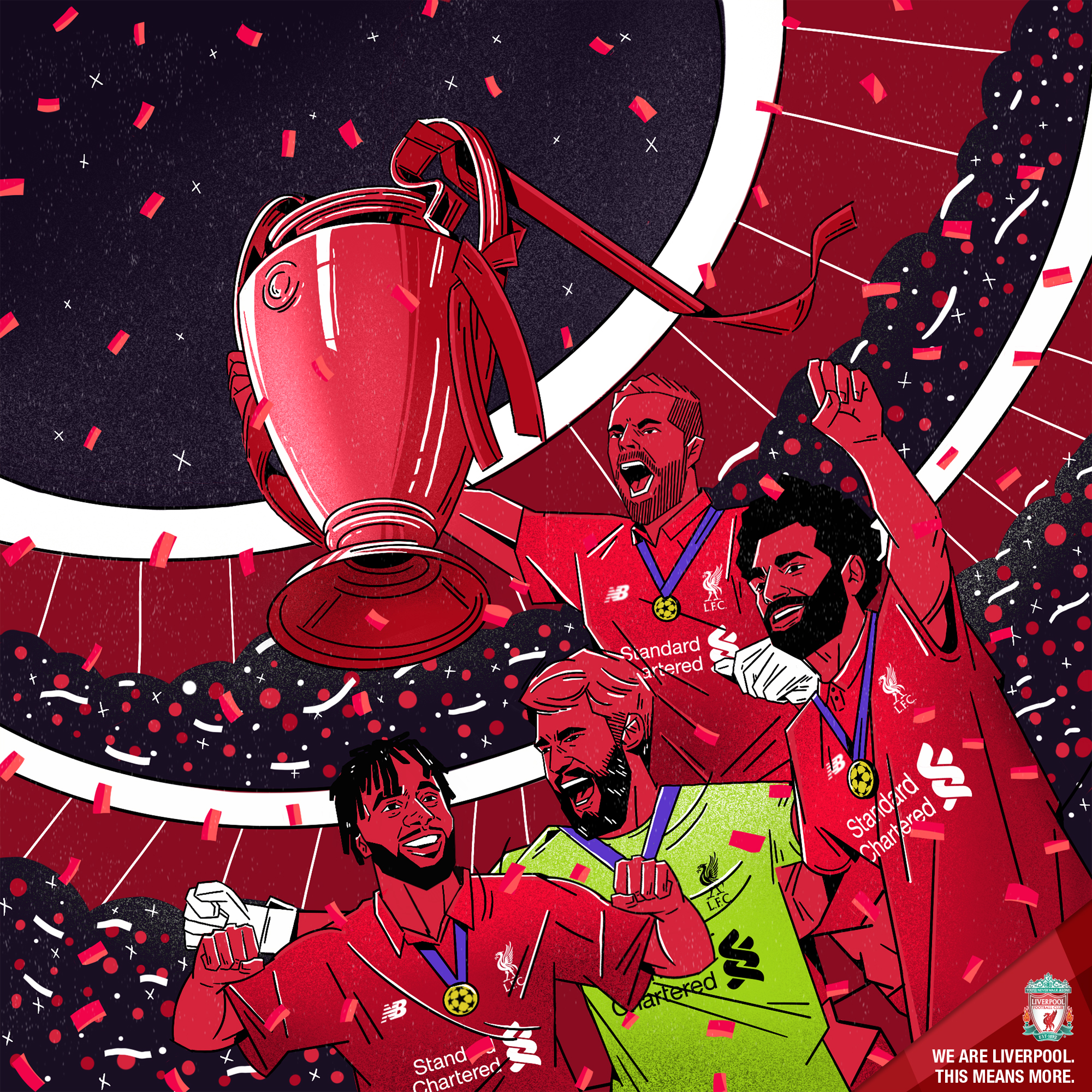 Another reactionary piece to the win in Madrid saw Ivan produce this iconic graphic that featured the two goalscorers, the club captain and the standout performer Alisson as they lift the European Cup together in front of a packed stadium.  This piece was illustrated by Ivan, from Mexico with art direction by myself.