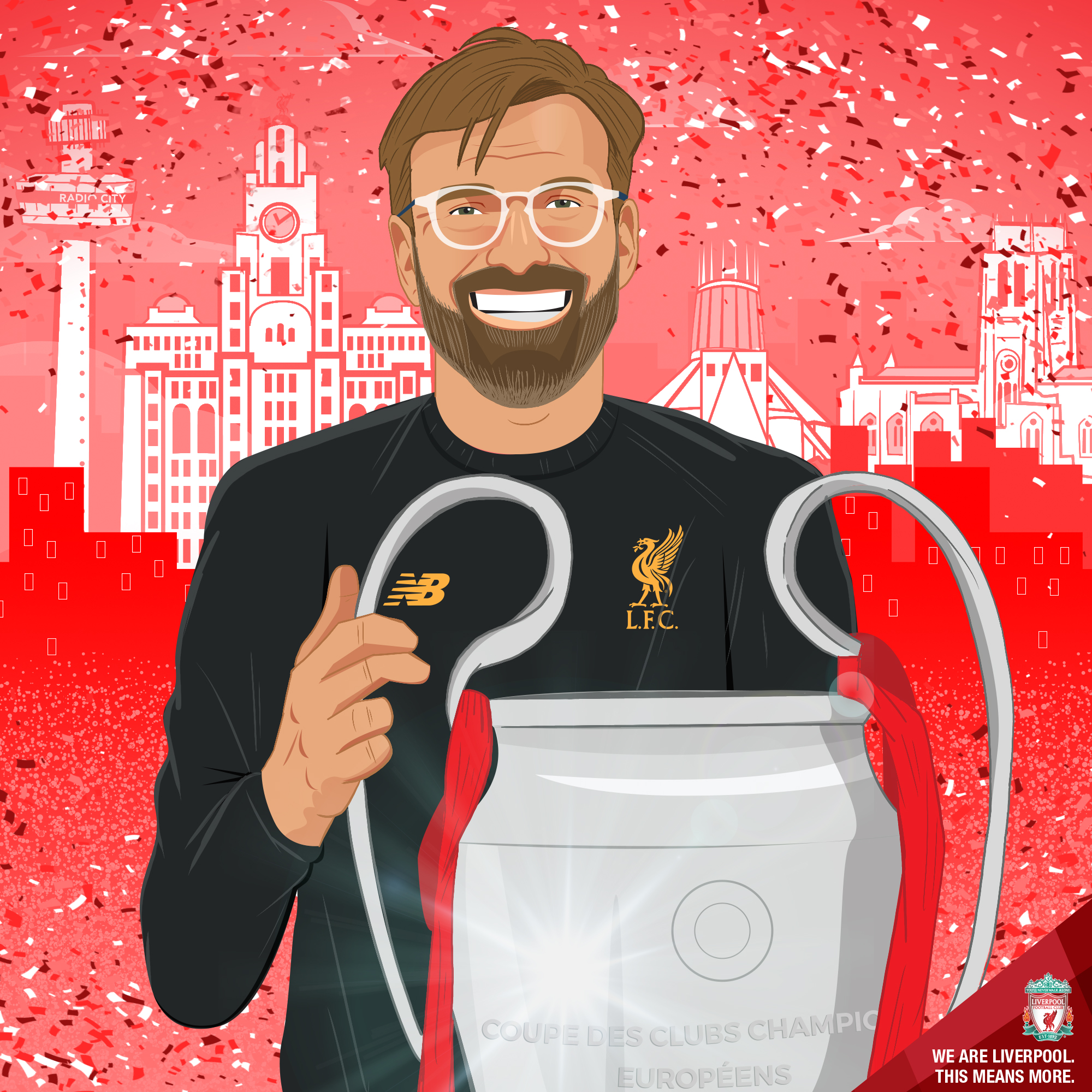 Following on from the trophy win, the club toured the city of Liverpool on an open top bus, proudly displaying the trophy to in excess of 750,000 supporters. This piece was created following that day to celebrate the man who was responsible for turning doubters into believers.    This piece was created by myself.