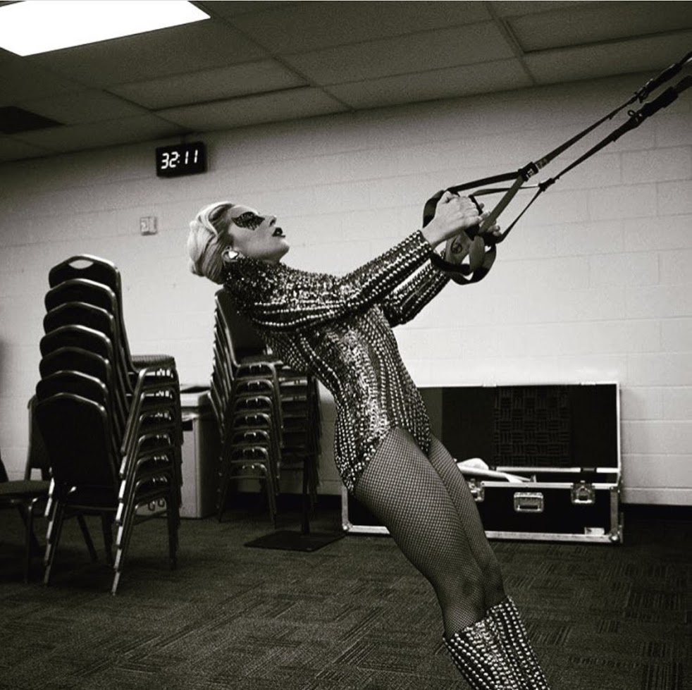 Lady Gaga training with the TRX before the Super Bowl