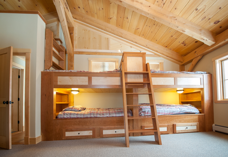 Custombuilt-indouble bunk beds crafted in cherry and maple.