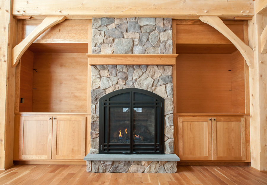 Custom built-ins around hearth.