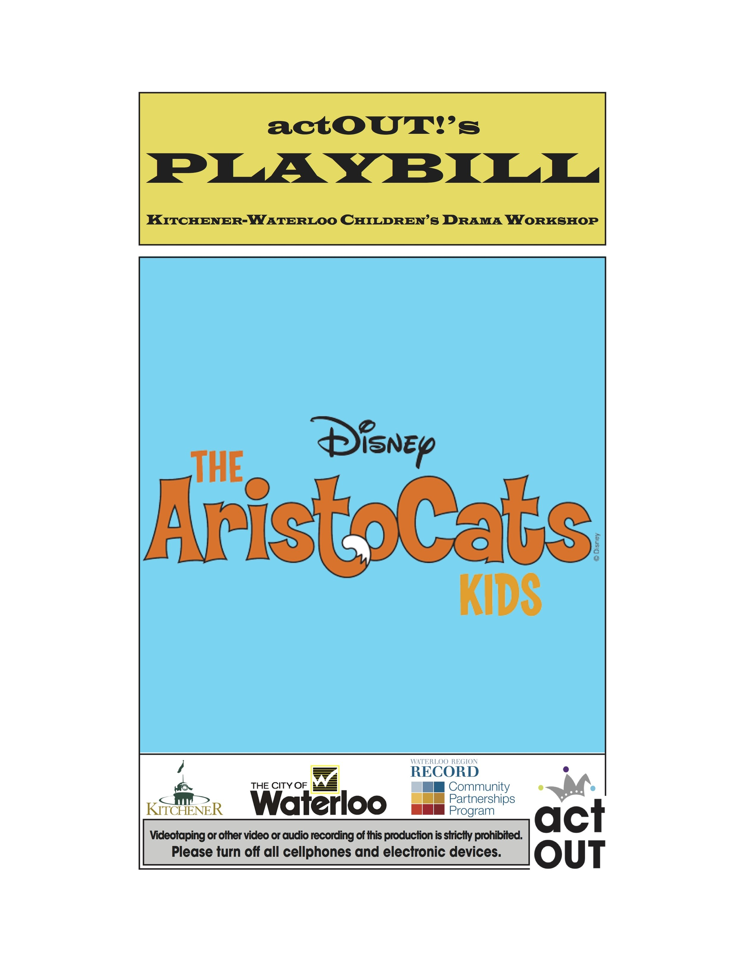 Advertise in actOUT!'s Playbill - Remember: The more ads we get, the more rehearsal photos we can include.