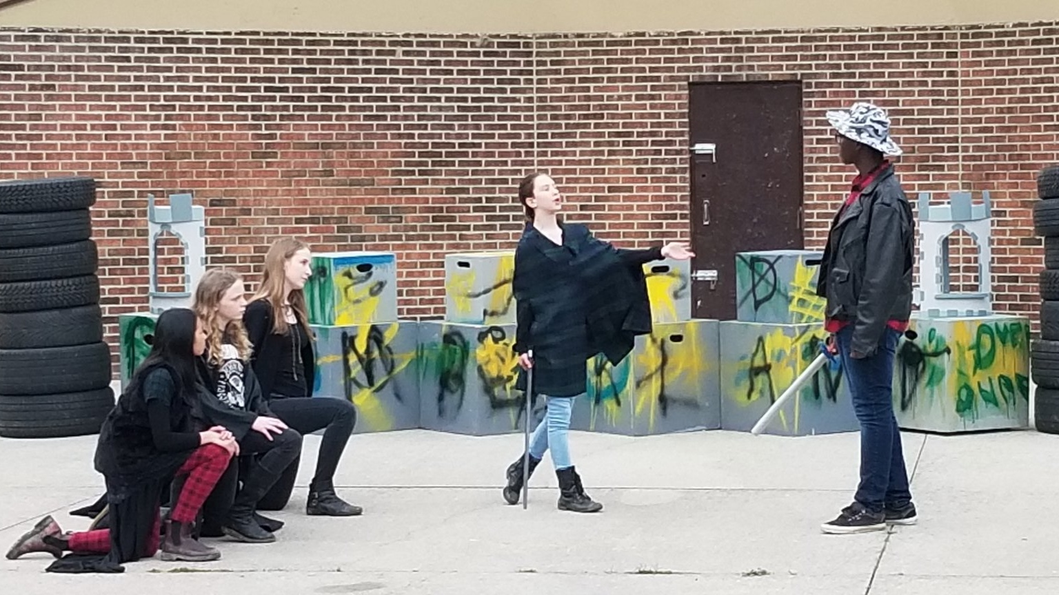 Some of the cast of 2019's The Tragedy of Macbeth -