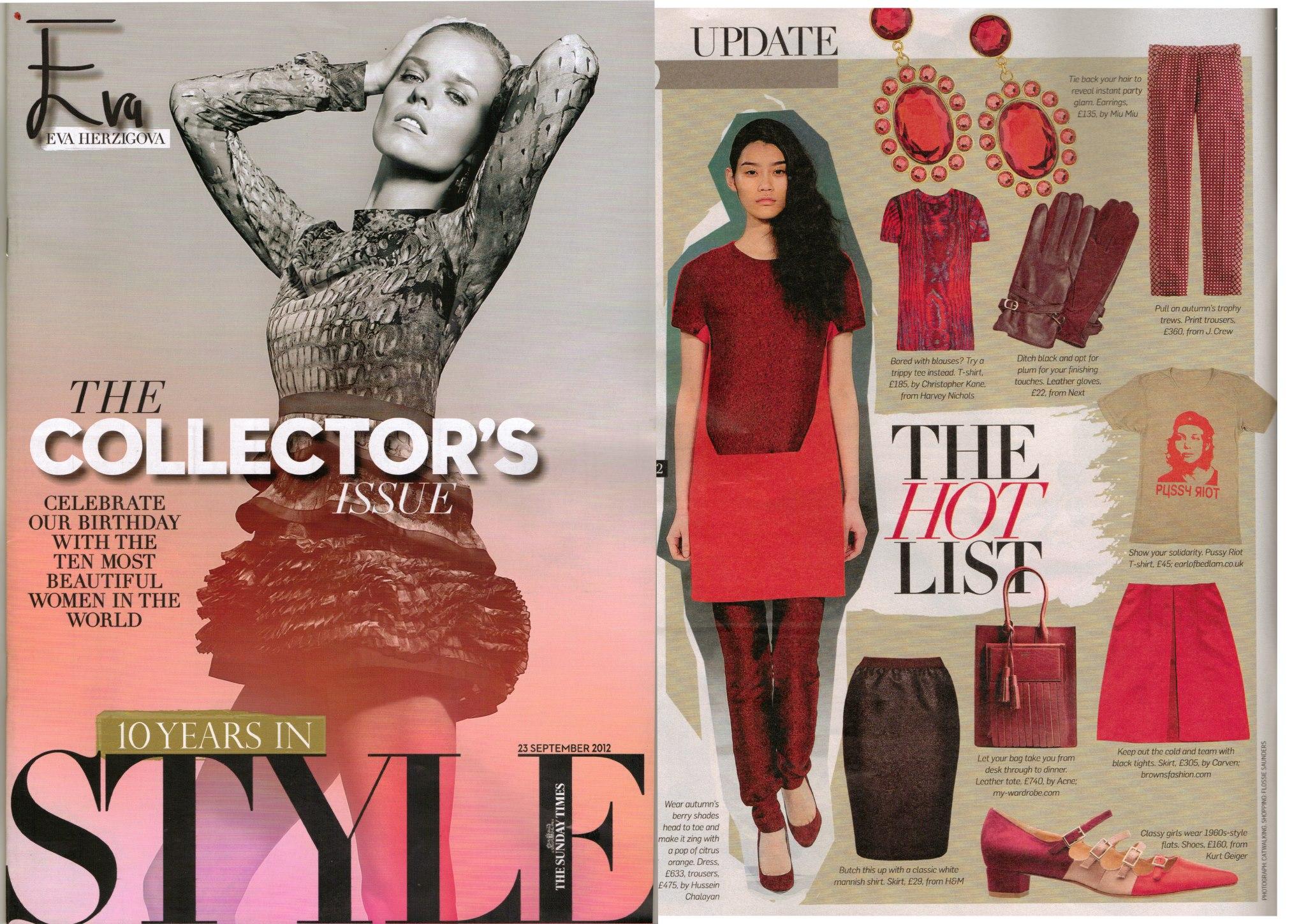 "Sunday Times ""Style"" magazine September 3rd, 2012"