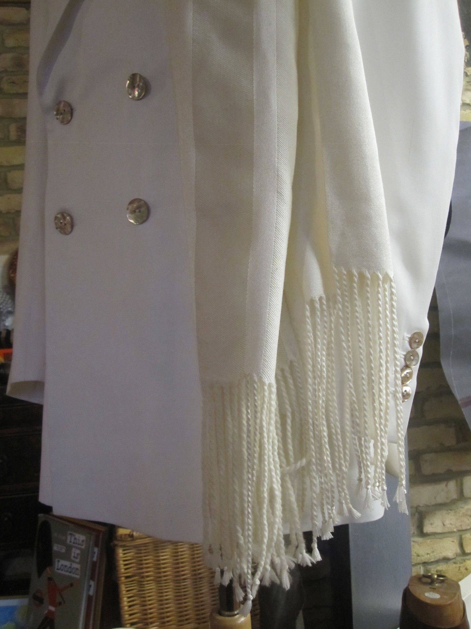 Blanc de Blancs evening jacket in fine white wool with Japanese goldfish shell buttons, styled with Anne Barclay silk : wool scarf.jpg