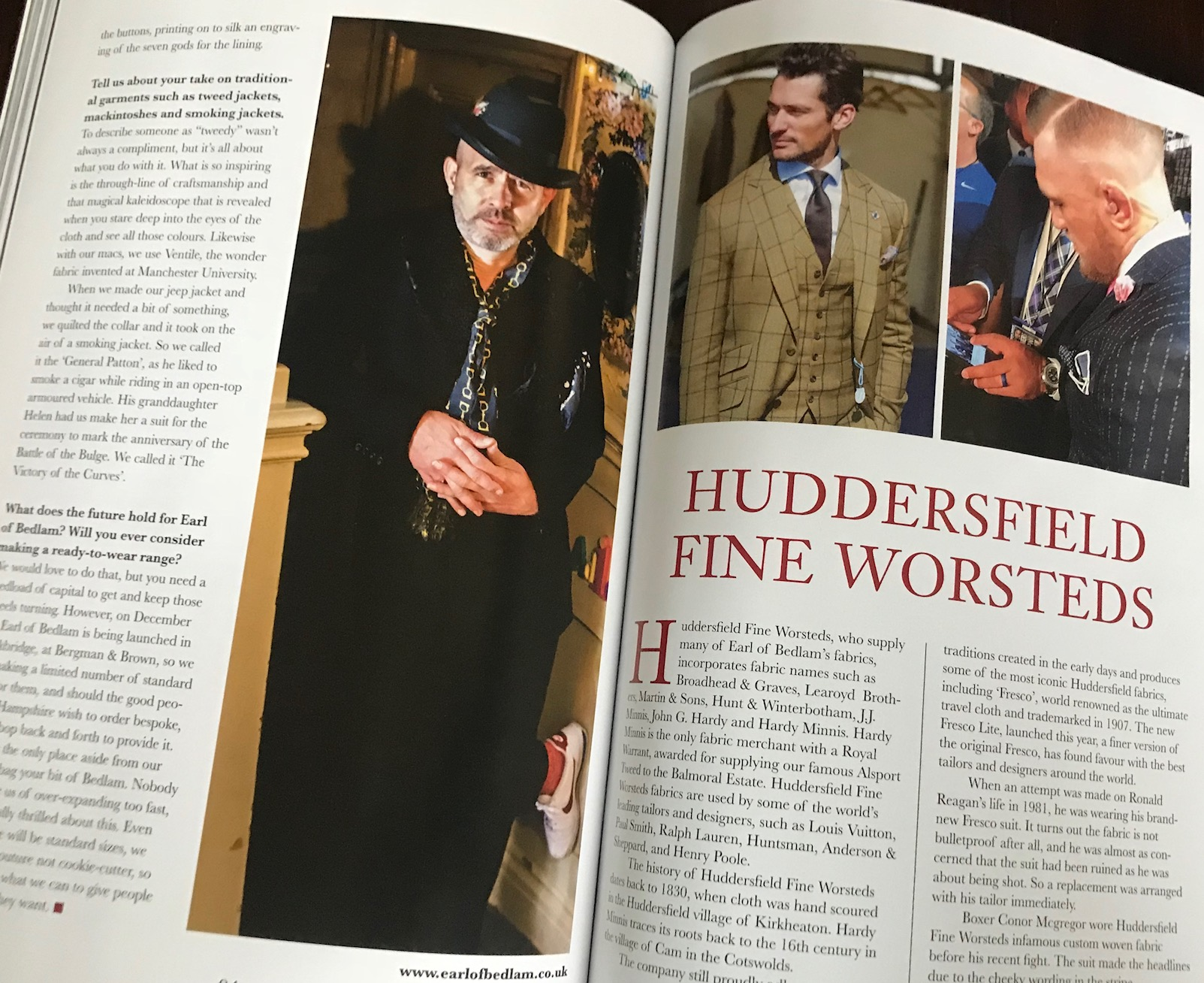 David Gandy gives Mr Wesley the sideways eye in the insert on Huddersfield Fine Worsteds in feature in The Chap magazine, Autumn / Winter 2017. Lucky it wasn't Brian on the facing age - that's the kinda competition that can crumble a man's confidence,