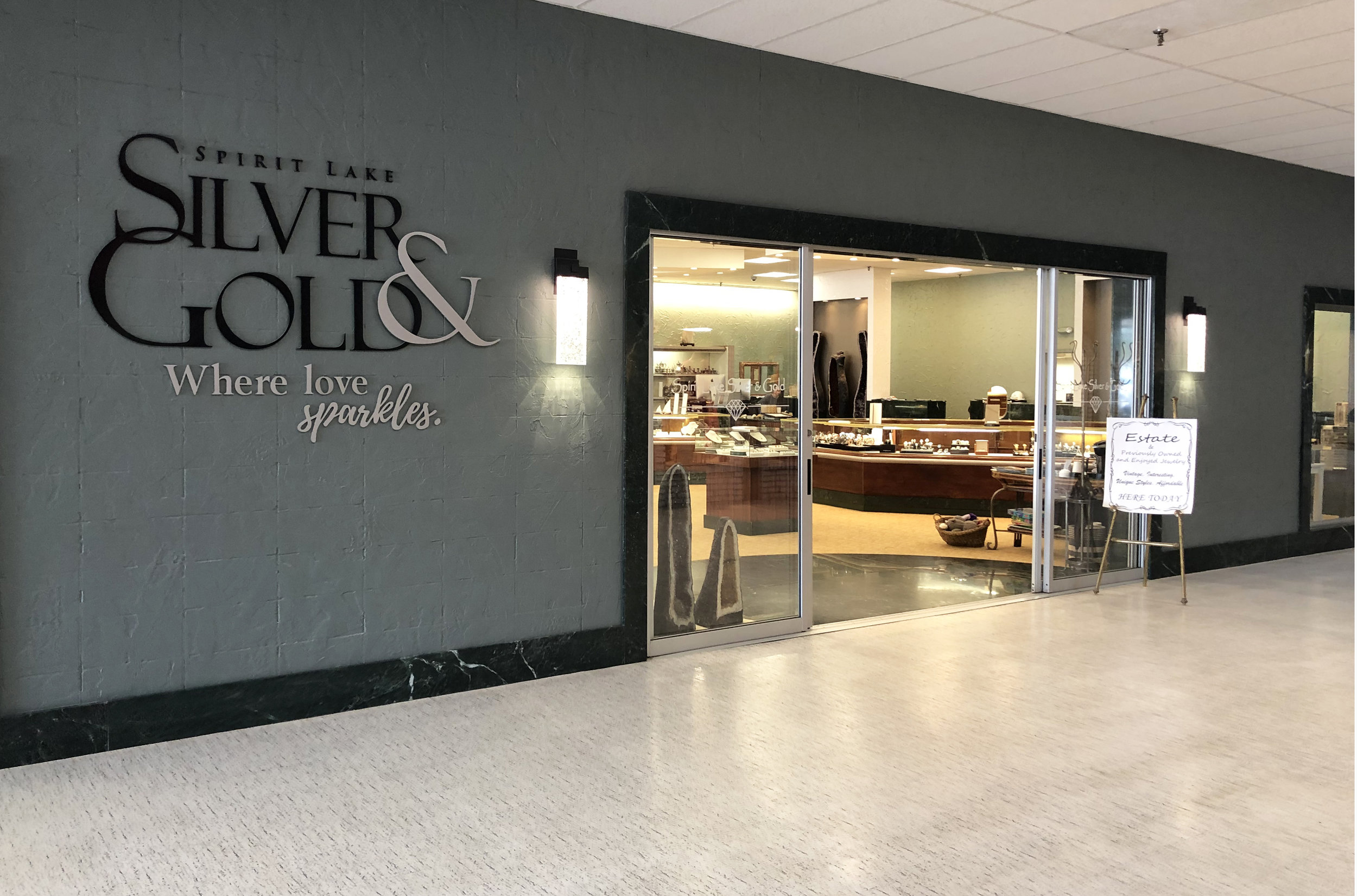 Spirit LakeSilver and Gold: - Largest jewelry store in northwest Iowa. On site jewelers make repairs plus create unique designs just for you. 712-336-5405Visit: www.spiritlakesilverandgold.com