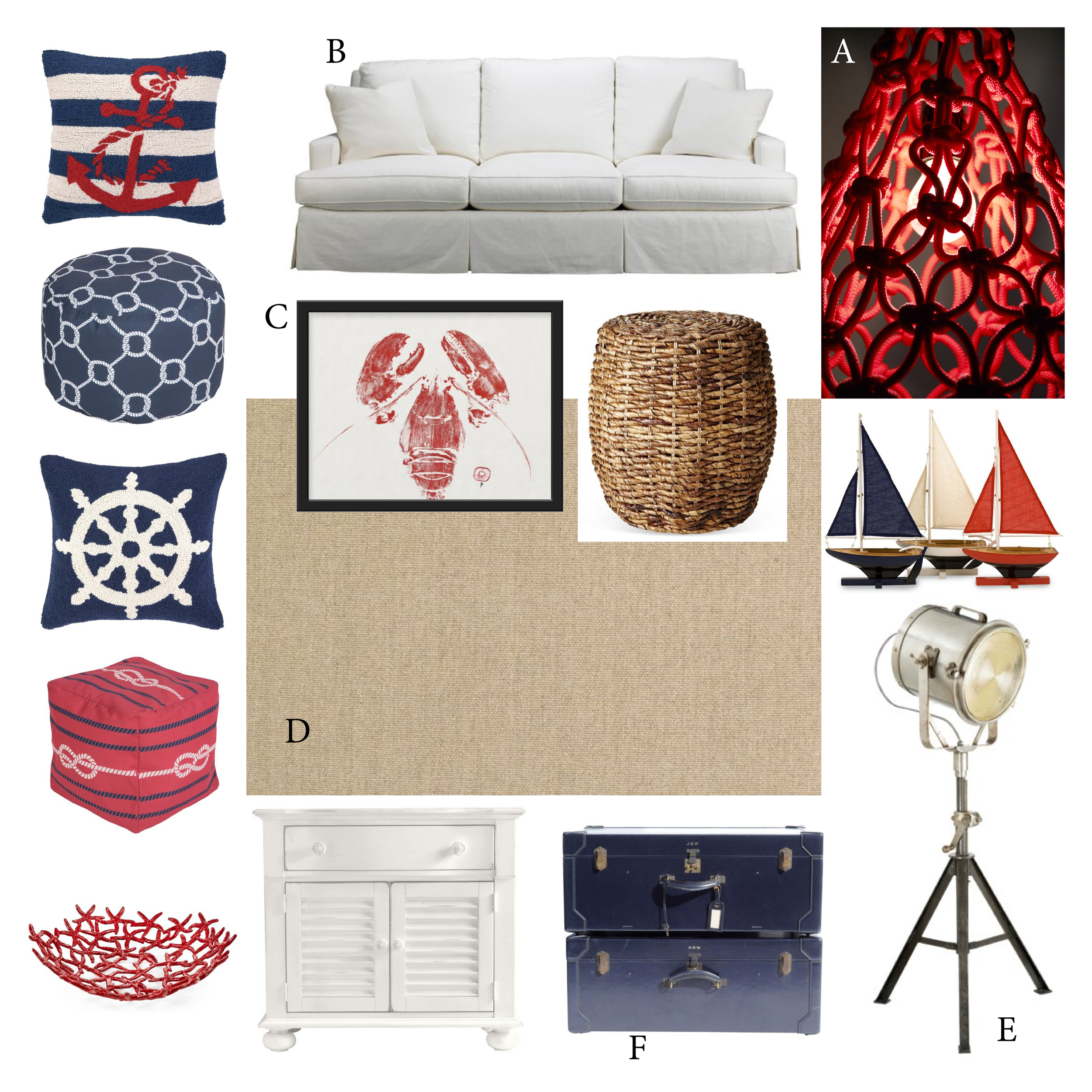 A:  Weaver Pendant Light by  Satelight  ; B: Sofa by Mr. & Mrs. Howard for  Sherrill Furniture ; C: Lobster Print by  East End Fish Prints ; D: Flat-woven Sisal Rug by  Stark Carpet ; E:  Visual Comfort  Floor Lamp; F: Vintage Hermes Trunks