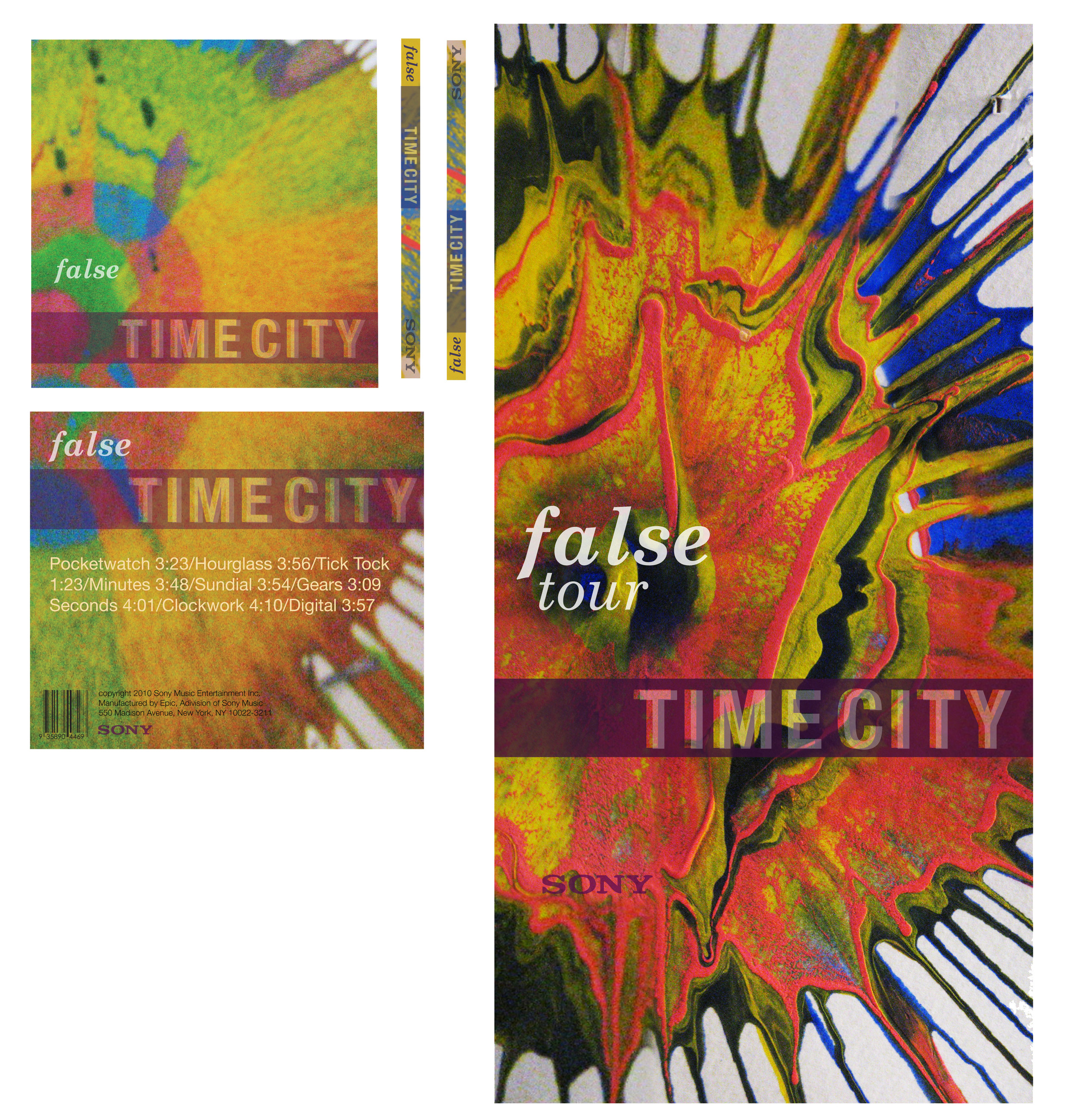 Poster and CD case for Time City's album False