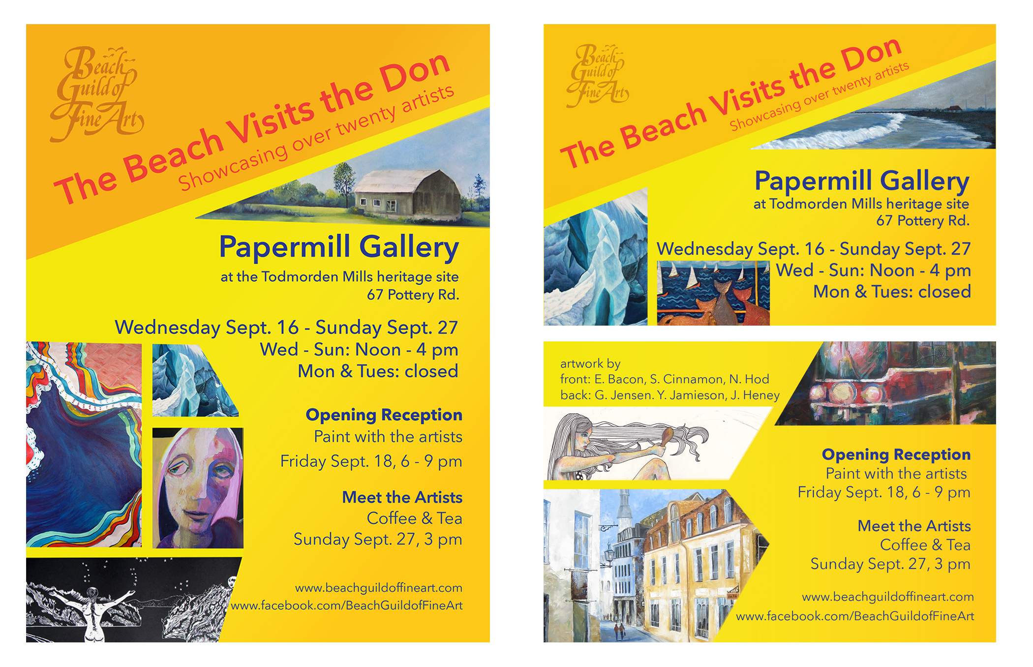 As part of her work with the Beach Guild of Fine Art Jordana does the graphic design for all of the guild's printed posters, postcards, flyers, and e-vites related to their art shows.