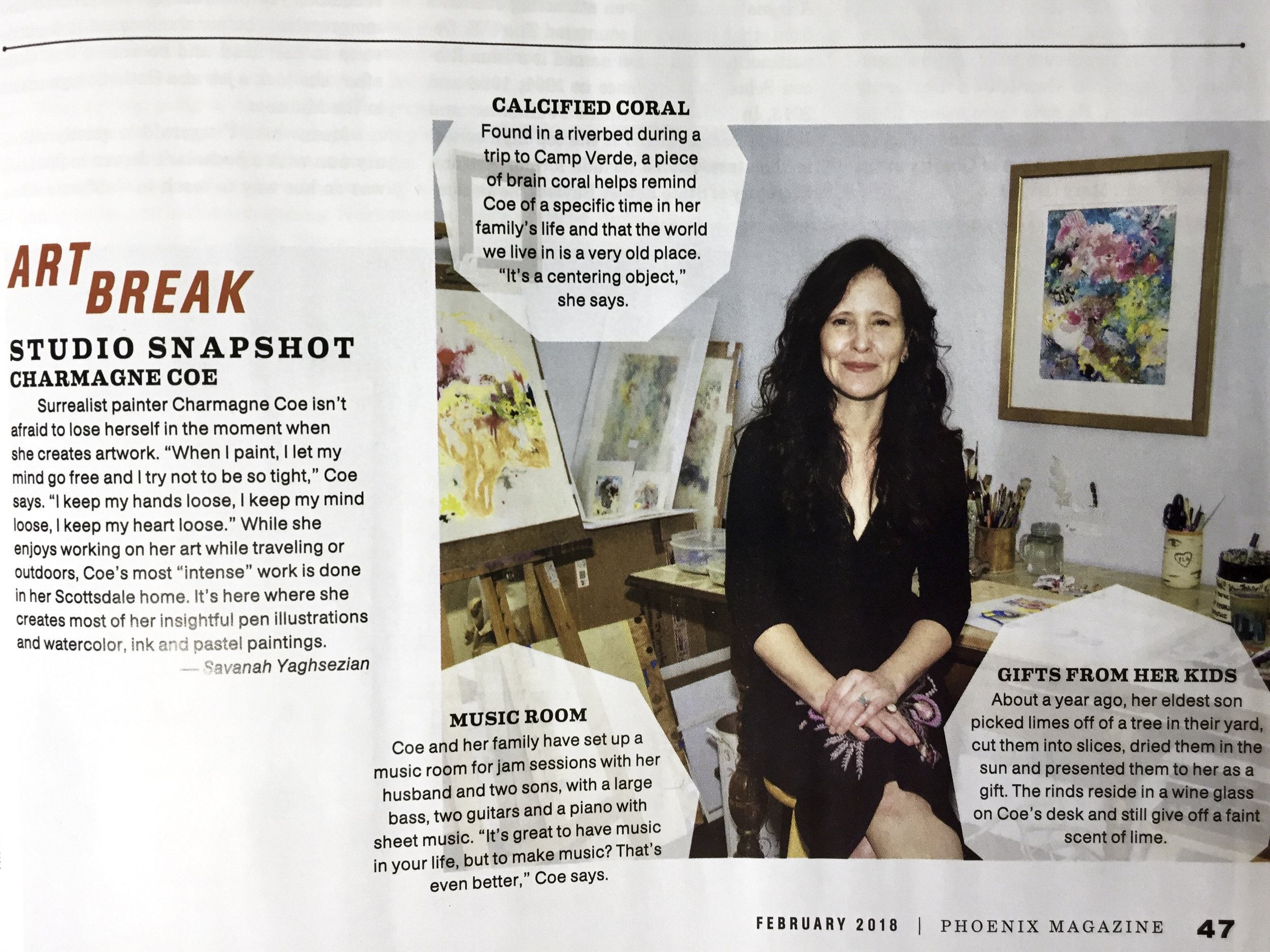 Phoenix Magazine ,   Art Break: Studio Snapshot with Charmagne Coe ,  February 2018