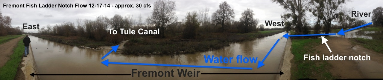Photo taken on the Fremont Weir. The bend is a superficial byproduct of panoramic view; the weir is straight.