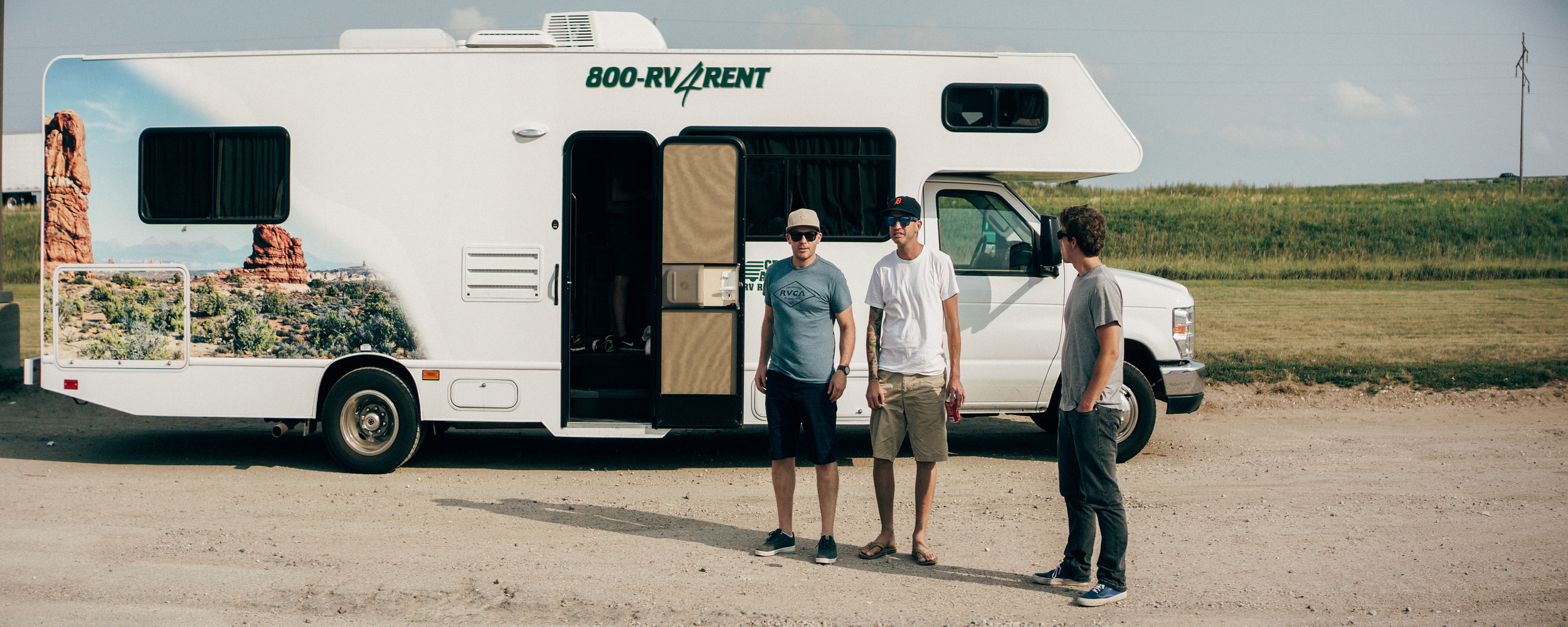Somewhere in South Dakota. Tony, Steve, and Andy, looking like goons.