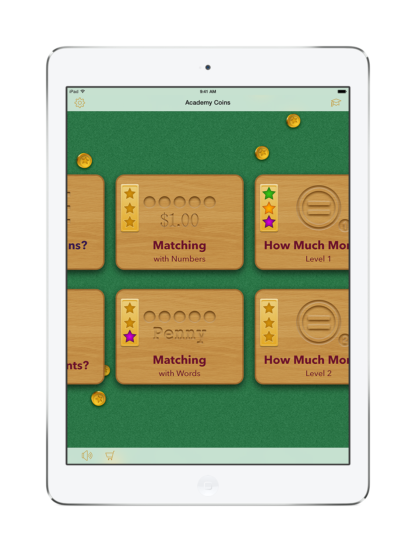 Academy Coins Home Screen on an iPad mini