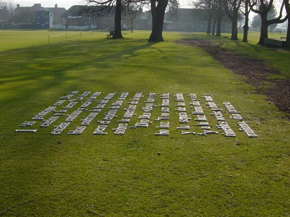 'Untitled', 2003 – (275 ceramic letters - Installation)