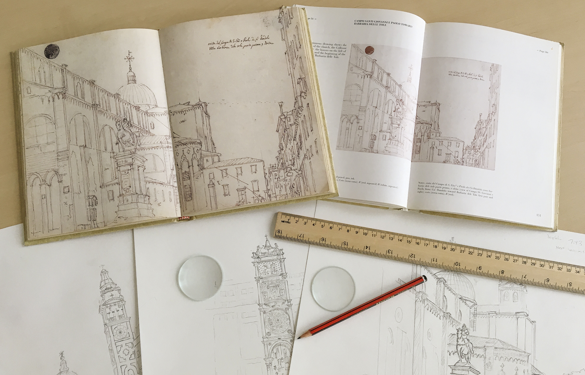 Facsimile of Canaletto's Sketchbook with annotated companion guide, new sketches made in 2015, and the lenses used to assist them.