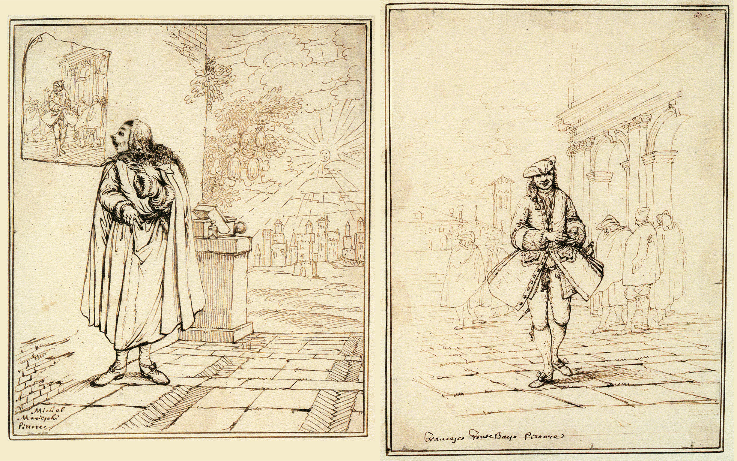 Two-part cartoon by Anton Maria Zanetti (the elder) showing view painter, Michele Marieschi, drawing hand hidden, looking in wonder at a hand-drawn figure on the wall. As if to add insult to injury, the Zanetti shows the confident looking figure on wall again in full in the second panel.