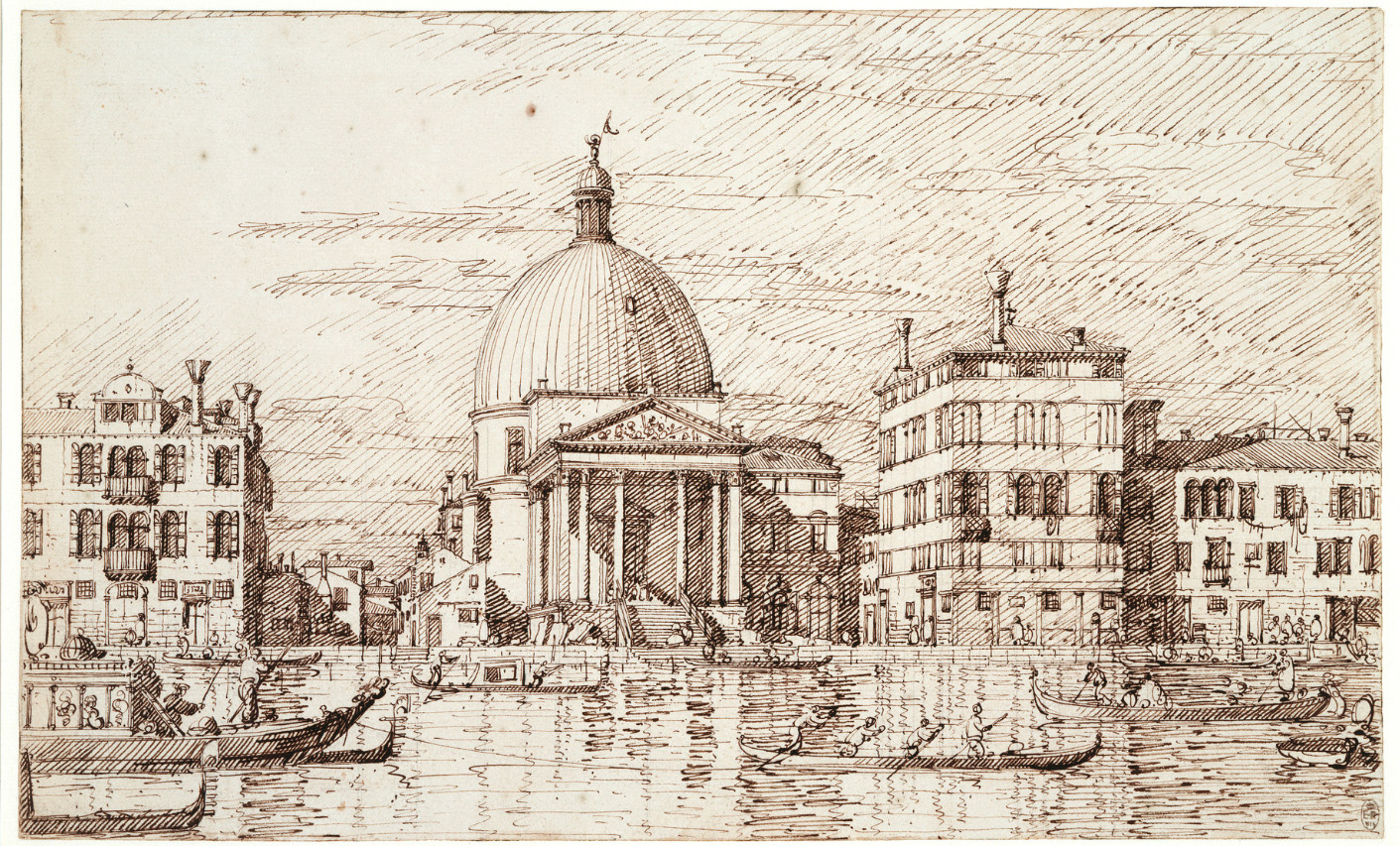"A finished ink drawing by Canaletto that serves as a interim design from which engraving or painting can be based (there is no painting by Canaletto of this view). Note the note that the steps of the church are still unfinished, but people, water and boats and effects of light have been added. An engraving by Visentini survives, as does a sub par painting by a ""follower"" of Canaletto."