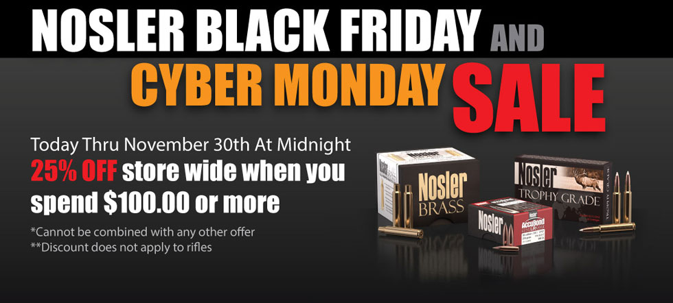 Nosler 25 Percent Off Store Wide Banner