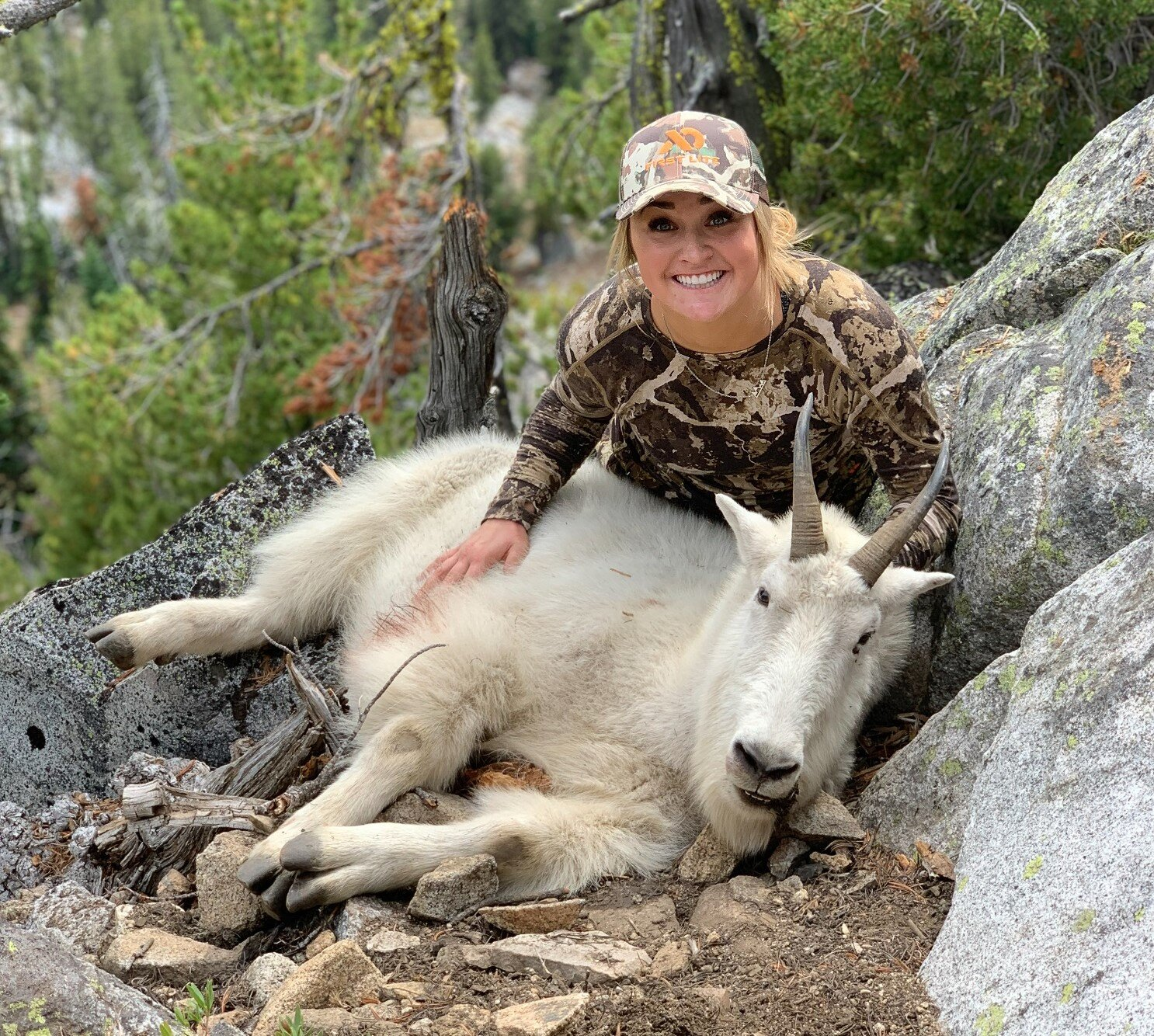 Alyssa Nitschelm on her first hunt after drawing a once-in-a lifetime Rocky Mountain Goat tag in Central Oregon