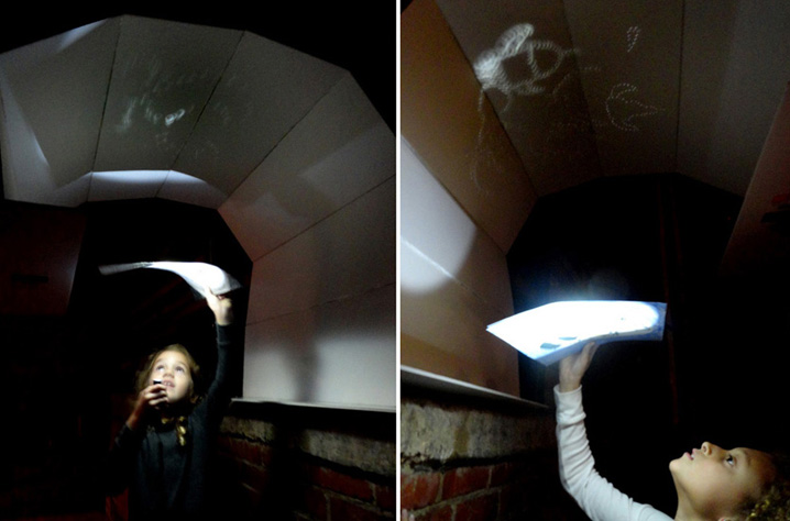"""During the Art After School """"Planetarium"""" project, students invented their own constellations and constellation charts, and then projected their stars onto a homemade planetarium dome with flashlights. Note flying cupcake constellations at right."""