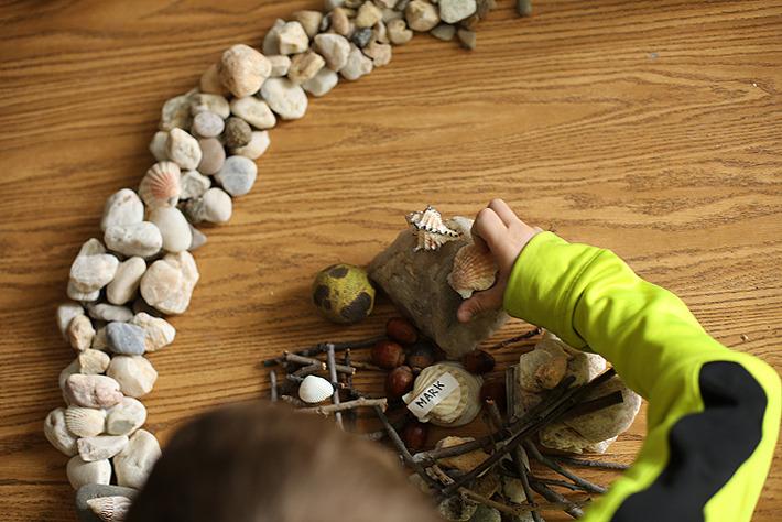 An Art Brains student working on a sculptural composition during an Ephemeral Art-making class