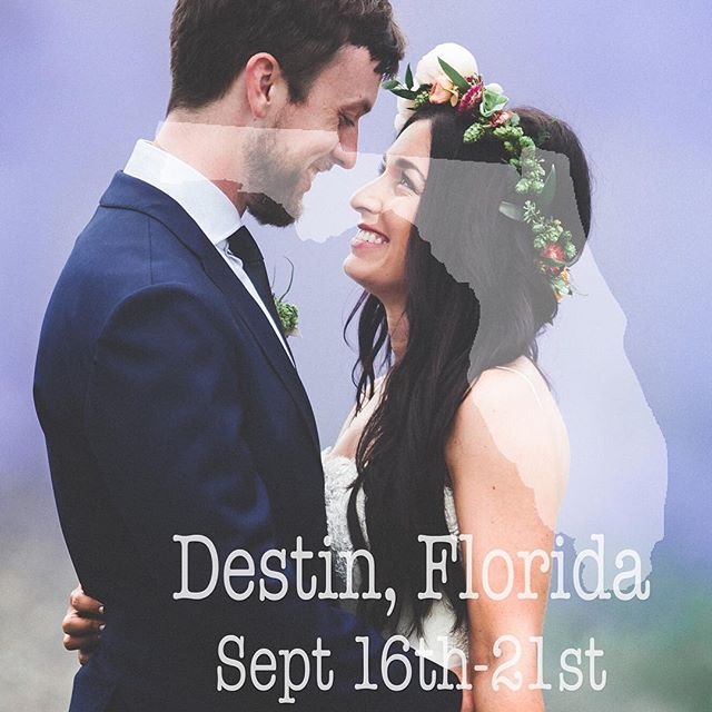 We will be in Destin, Florida shooting a wedding from the 16th-21st. Let's Shoot! #motivate #love #inspire #wedding #destinationweddingphotographer #weddingphotography #florida #destin #couples #smile #ocean #letsshoot #kiss #ocean #instagood #explore #wedding #bride #groom