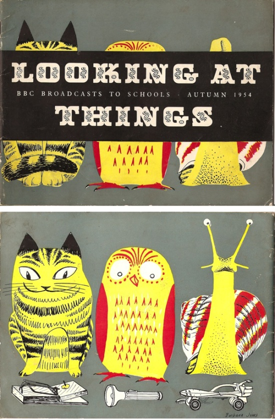 """Front and Back Cover of """"""""Looking at Things"""" a BBC publication for each school term. From Graphis Annual 1955/56"""" Illustrated by Barbara Jones  via"""
