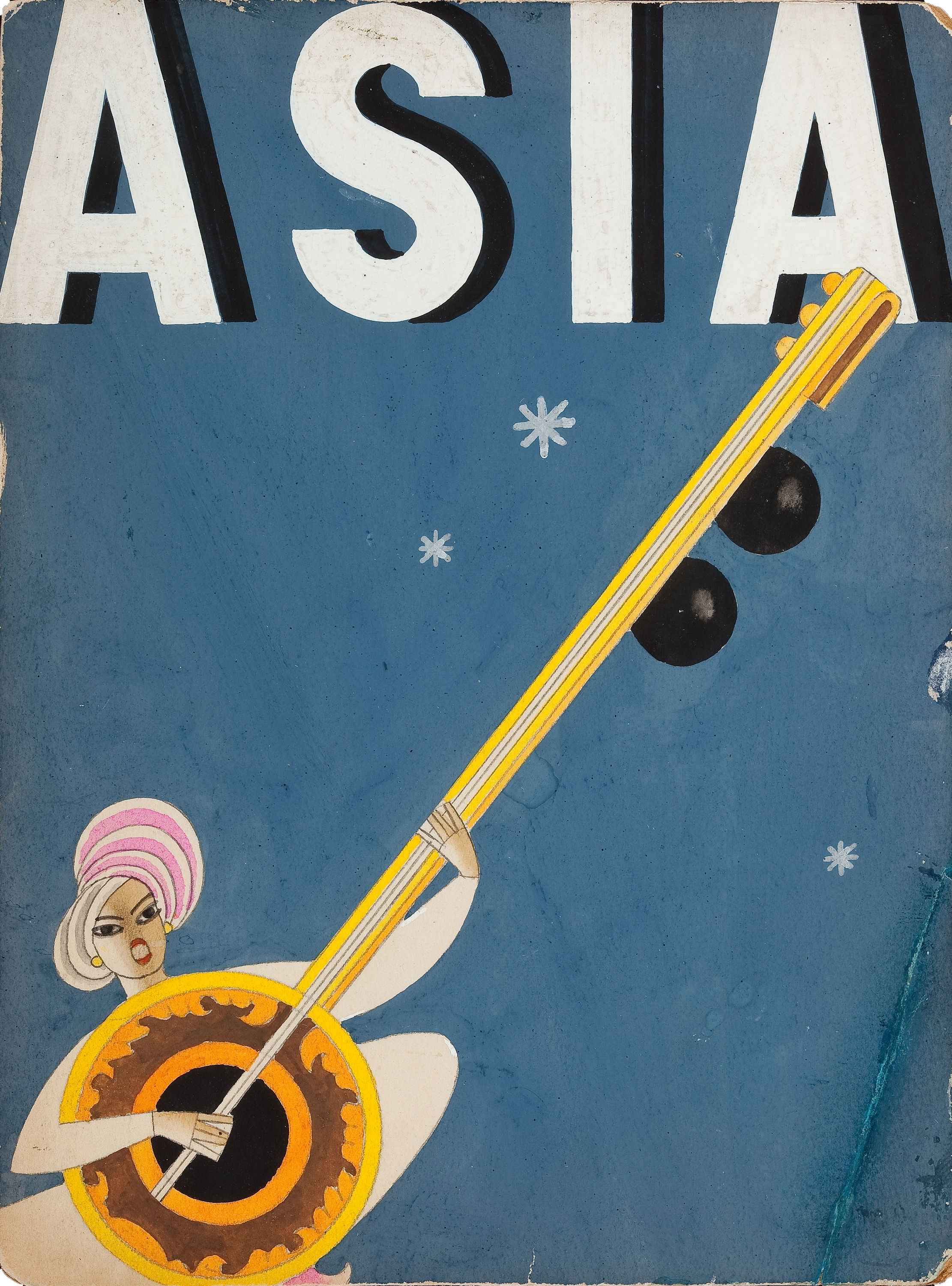 FRANK McINTOSH (American, b. 1901). Asia magazine cover, December 1933. Gouache, watercolor, and pencil on board.