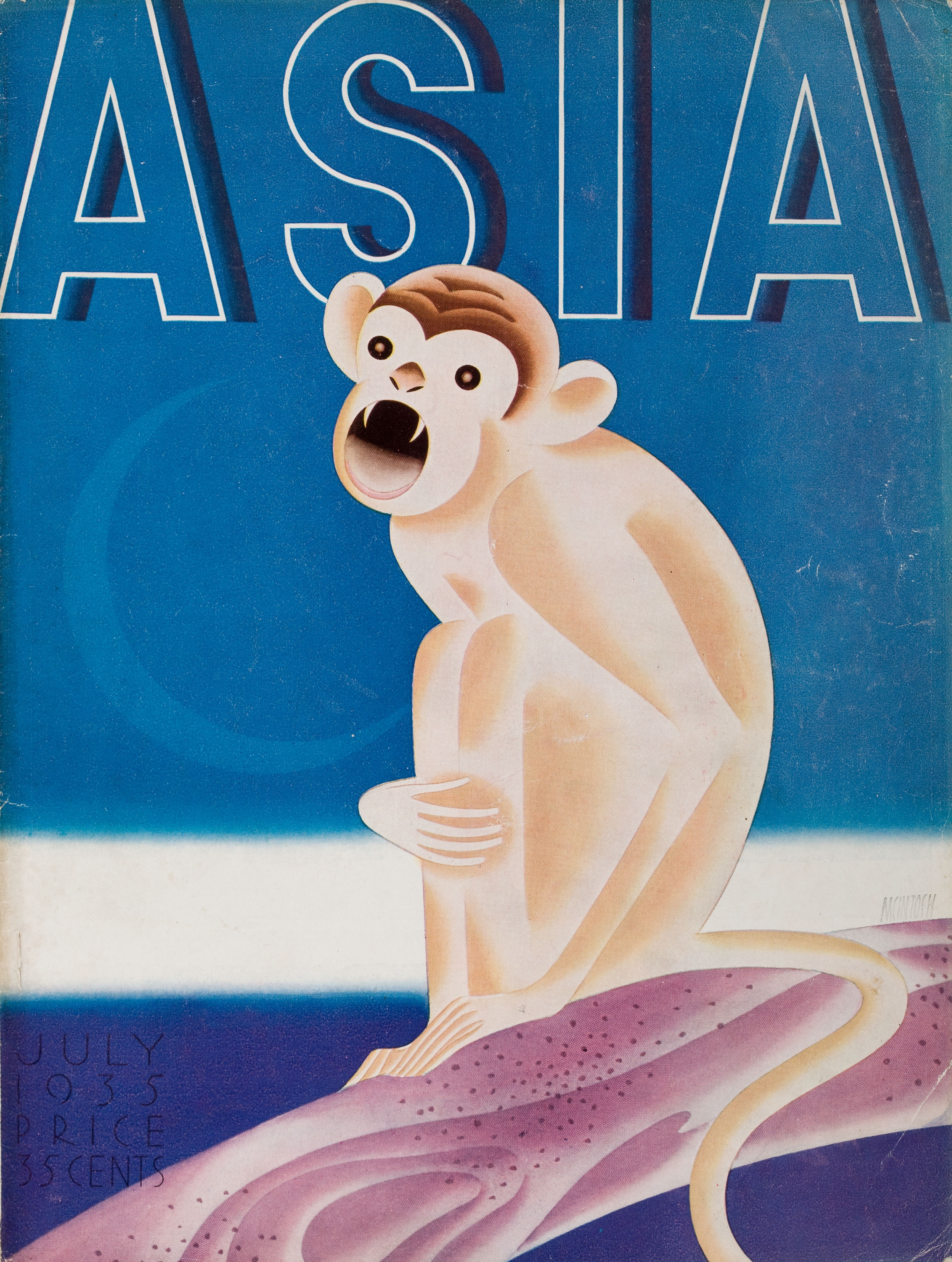 FRANK MCINTOSH (American, b. 1901). Asia magazine cover , July 1935. Watercolor and gouache on board.