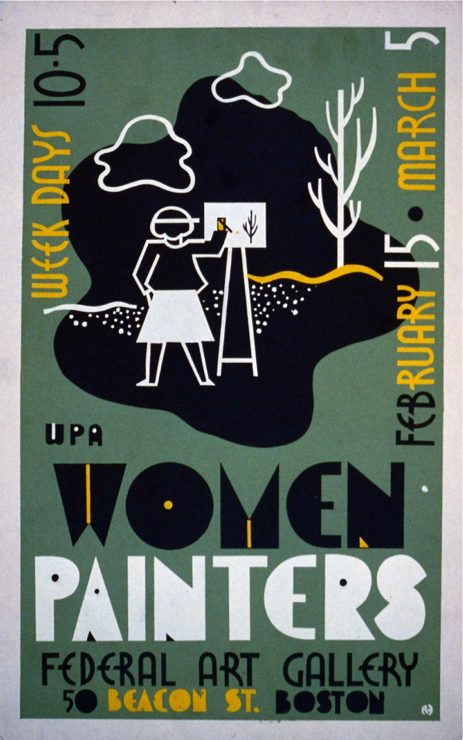 Poster for exhibition of WPA women painters at the Federal Art Gallery, 50 Beacon St., Boston, Mass., showing a woman painting outdoors. c. 1936/38