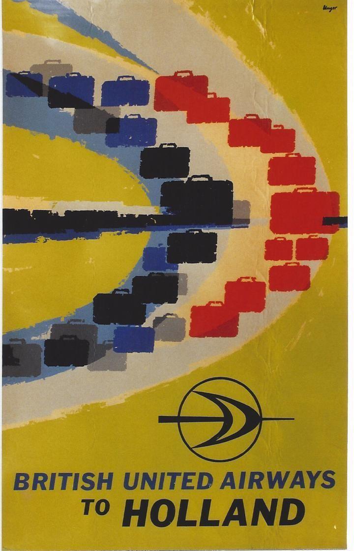 Hans Unger travel poster British United Airlines to Holland via  vintageposterblog.com