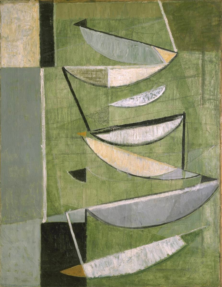 Sir Terry Frost ,  Green, Black and White Movement    1951 at the  Tate .  Started painting while a prisoner of war in Germany 1943.
