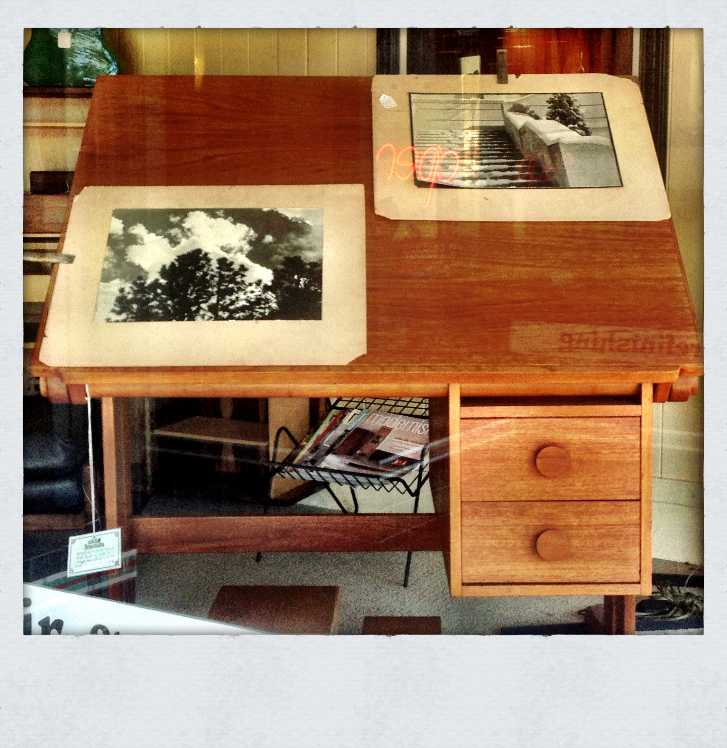 Mcm drafting board in the window. Now mine!