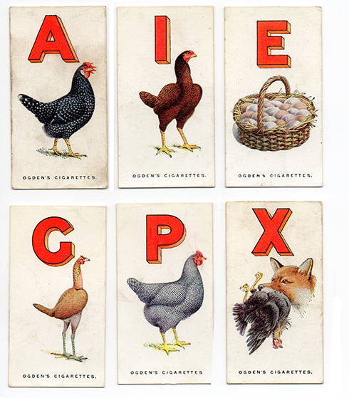 The much sought after Ogden's Poultry Alphabet, 1924. Via the collection of  Tim Bones .