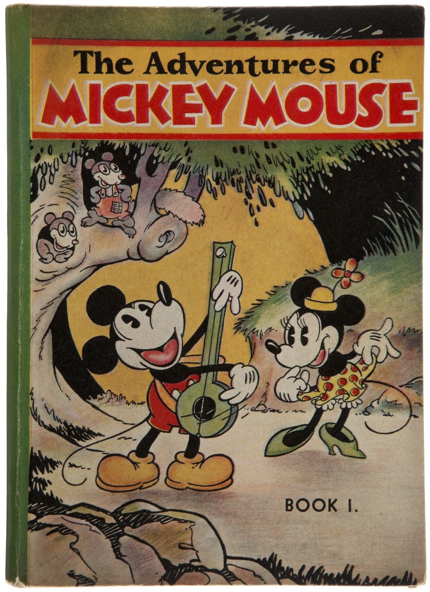 [Walt Disney Studios].  The Adventures of Mickey Mouse.  Philadelphia: David McKay, [1931]. First edition of the first Mickey Mouse book. This one sold for over a thousand dollars.