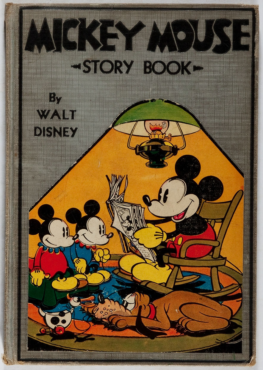 [Walt Disney]. Mickey Mouse Story Book. McKay, 1931. First edition, first printing. Hinges reinforced. Title page illustration with faint amateur coloring and erasing. Toning and minor soiling. Names erased. Custom slipcase.