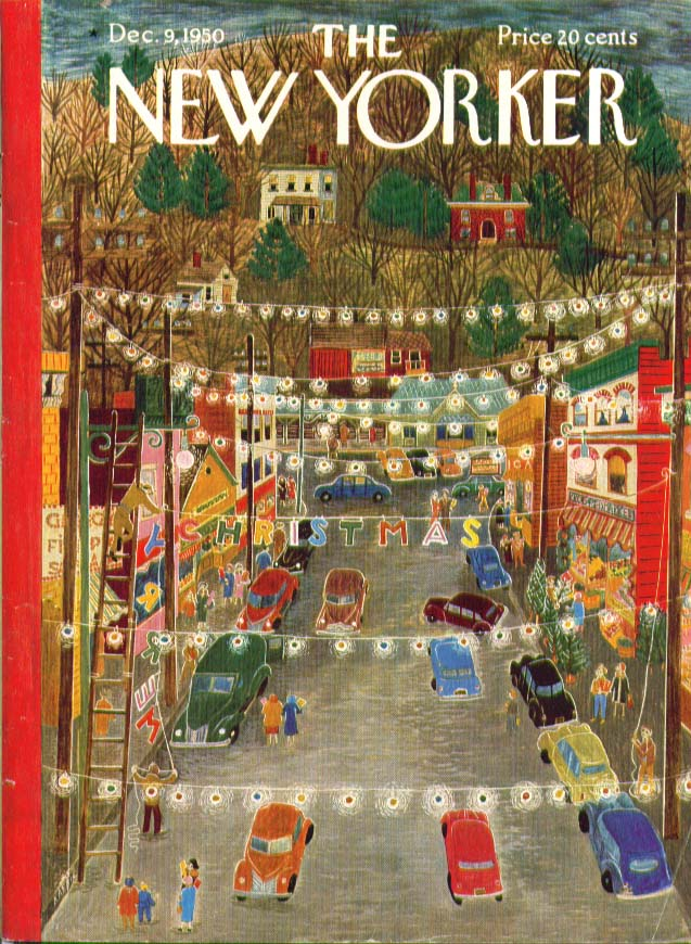 New Yorker cover Ilonka Karasz Main Street Christmas lights 12/9 1950