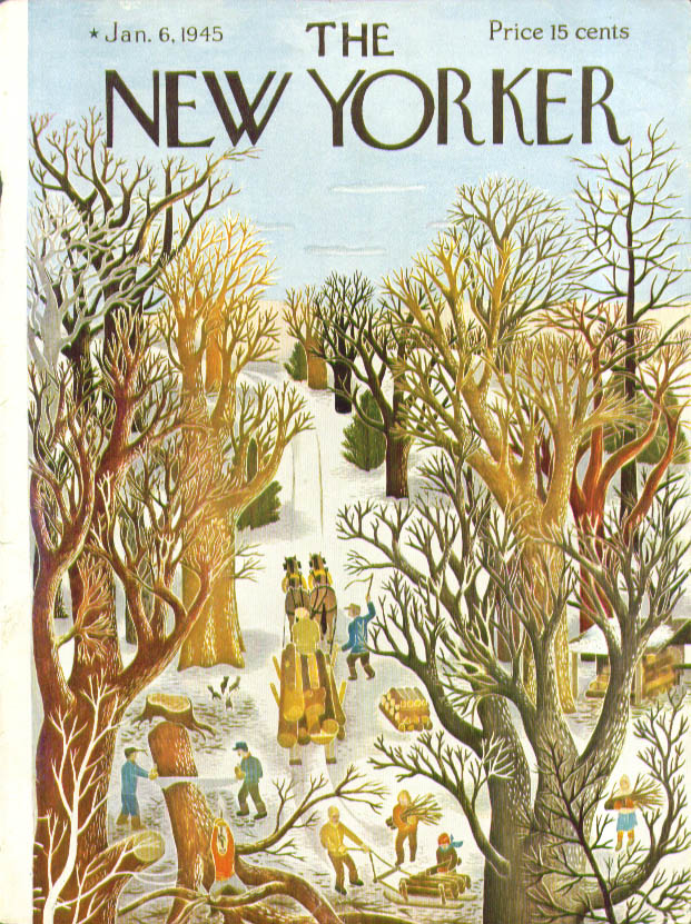 New Yorker cover Ilonka Karasz logging in winter 1/6 1945