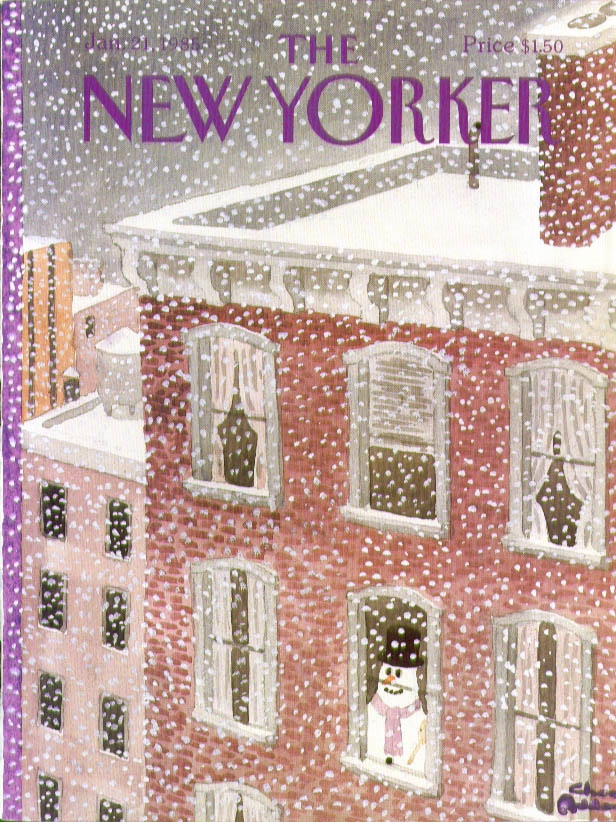 New Yorker cover Charles Addams snowman inside looks out at a storm 1/21 1985