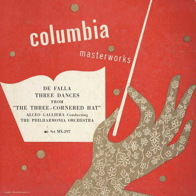 This is an example of one of Steinweiss's early generic covers, used for symphonic works, the title would be inserted in the white box.