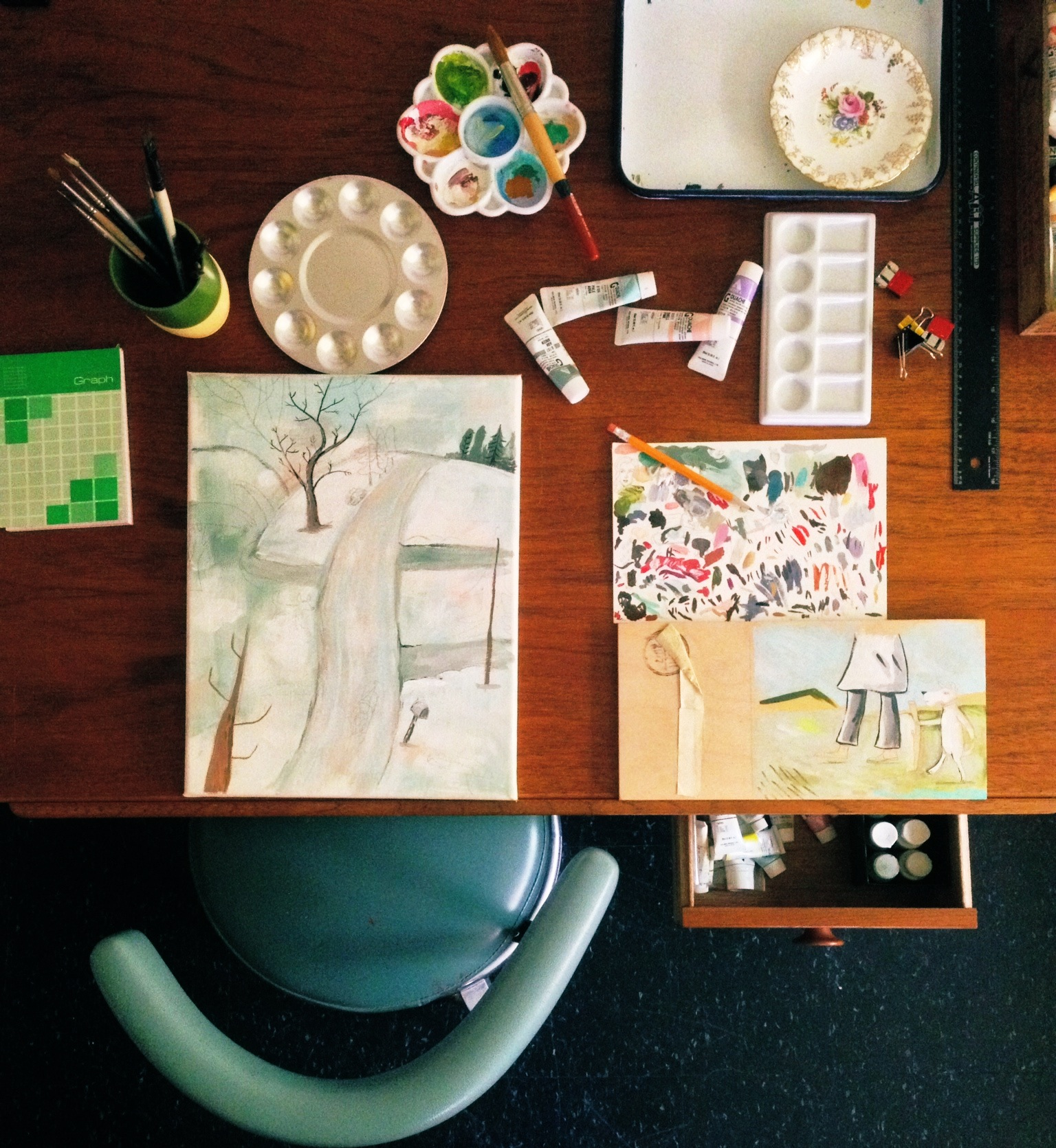 This is my drawing board in the home office. Since I shot this, I have broken that lovely little china saucer that my mom gave me. Art is messy.