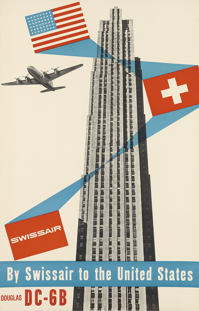 HENRI OTT (1919-?) SWISSAIR / BY SWISSAIR TO THE UNITED STATES / DOUGLAS DC - 6B. Circa 1952.