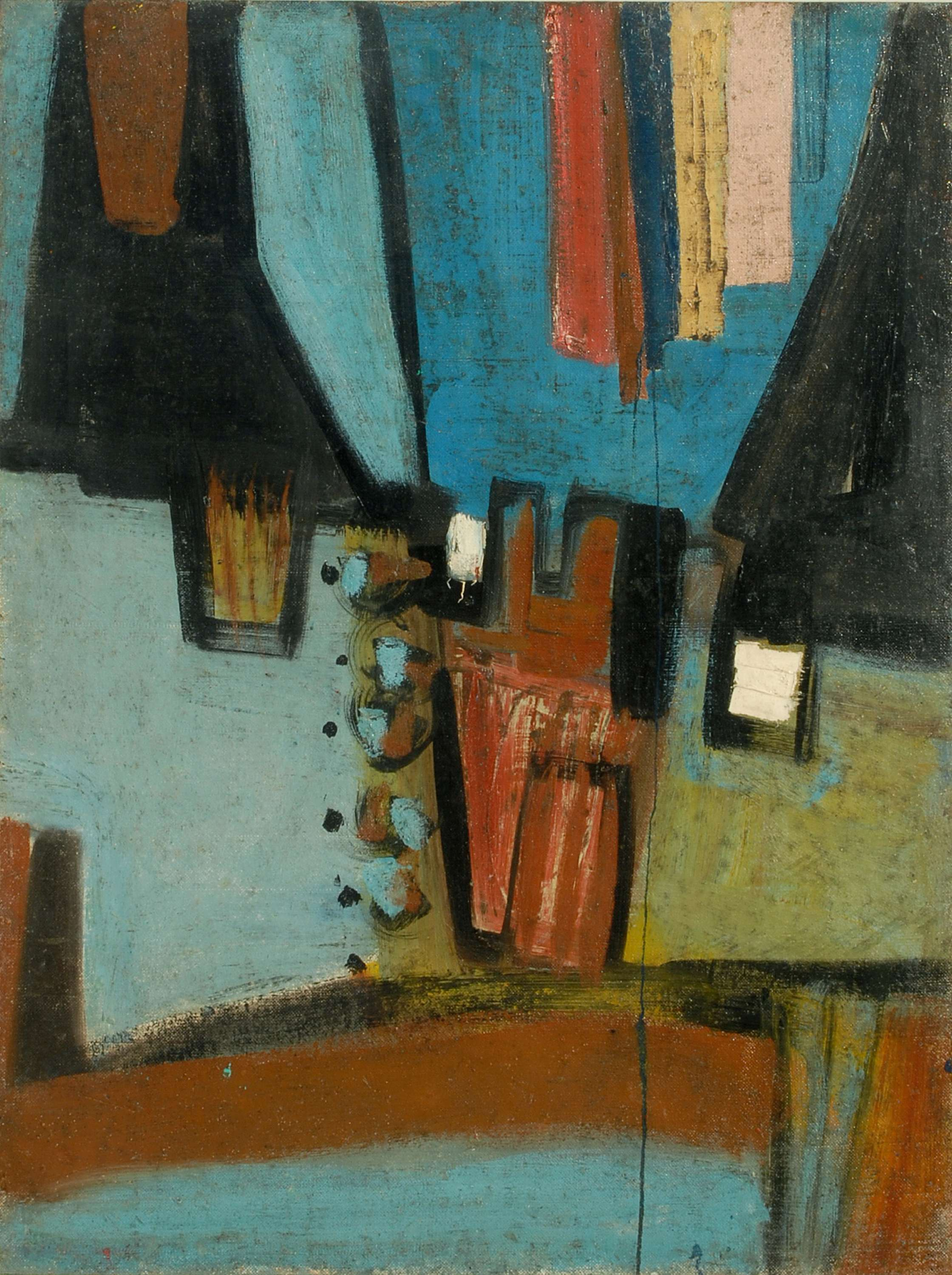 Terry Frost, British 1915-2003 | Blue for Lumbar1956Oil on board via  Godson & Coles